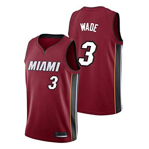 Shelfin - Camiseta de baloncesto de la NBA de Miami Heat del número 3 Wade, transpirable, grabada, color Rojo, tamaño Large