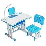 KHFJ Escritorio Infantil Juego de sillas Inicio Simple Escuela de Escritura Primaria Escritorio Y Silla Set Niña Niño Study Desk para niños y niñas (Color : Blue, Size : Medium)