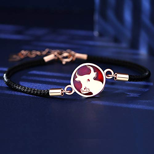 S925 Silver Zodiac Cow Red String Hand Woven Bracelet Feng Shui Wealth Amulet Charm Bracelet Lucky Chinese Gifts for Healing Attract Money for Good Fortune Courageous Bring Prosperity,Black