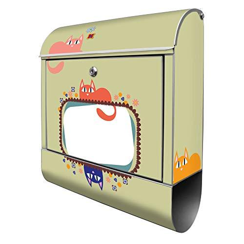 Banjado Design Briefkasten mit Motiv WT Karikatur Katzen | Stahl pulverbeschichtet mit Zeitungsrolle | Größe 39x47x14cm, 2 Schlüssel, A4 Einwurf, inkl. Montagematerial