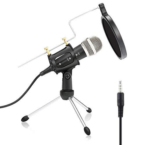Micrófono de computadora, micrófono de condensador de conector de 3,5 mm con soporte de trípode de filtro para computadora, teléfono móvil, canto, podcasting, grabación de voz.