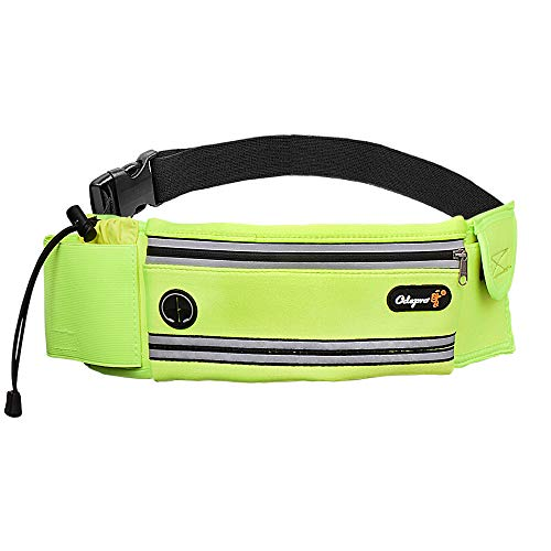 Odepro HS01 Running Belt Waist Pack with Water Bottle Holder, Adjustable Belt, Phone Pouch, Key Card Pocket,Earphone Hole, for Outdoor Fitness, Walking, Jogging, Cycling, Climbing, Hiking (Green)