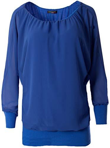 FASHION YOU WANT Damen Oversize Oberteile Tshirt/Pullover Uni Übergrößen Shirt Langarm (blau, 42/44)