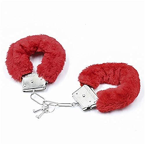N?A Peluche Esposas Llaves Juguete Polica Disfraz Accesorios de utilera Fiesta de Halloween Juguete Regalo para Novia para Novio (Color: Rojo)