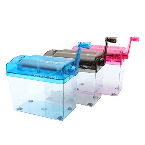 UWEL Kleiner manueller Aktenvernichter für den Schreibtisch, tragbar, handbetriebener Aktenvernichter, Mini-Handkurbel, A6-Papiervernichter, Bürobedarf, zufällige Farbe, 1 Stück