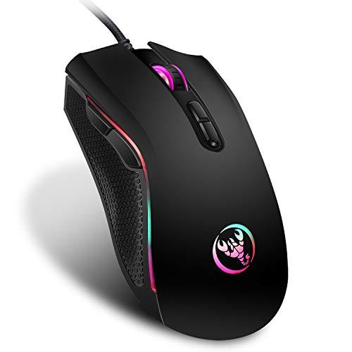 Mufee Bunt leuchtende Gaming-Maus, Gaming-Maus, kabelgebunden, für Computer und Laptop, leistungsstarke, kabelgebundene Gaming-Maus.