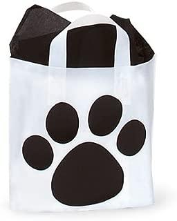 25ct Black and White Paw Print Studio Bags - 12 x 10 x 4