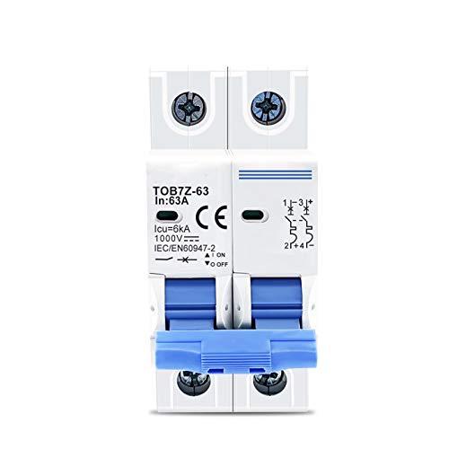 LUOXUEFEI Disyuntor Diferencial Interruptor Disyuntor 2P Dc 1000V 3A 6A 10A 16A 20A 25A 32A 40A 50A 63A Dc