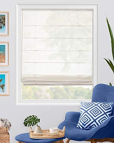 CHICOLOGY Cordless Roman Shades Modern Fabric Cascade Window Blind Treatment, 36' W X 64' H, Pacific White (Semi-Sheer/Light Filtering)