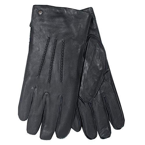 Joop! Herren Lederhandschuhe mit Ziernähten und Fleecefutter, Black, XL