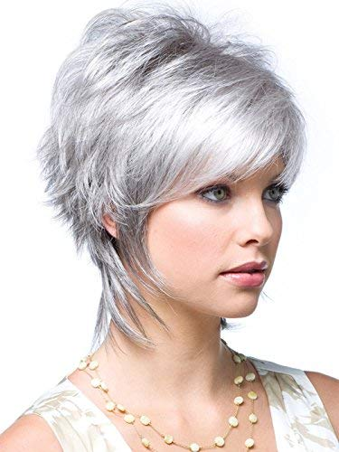 GNIMEGIL Short Wigs for White Women Fashion Female Silver Grey Cute Pixie Hair Hairstyles Hair Replacement Wigs Cosplay Costume Party Wig Synthetic Fiber Ladies Wig