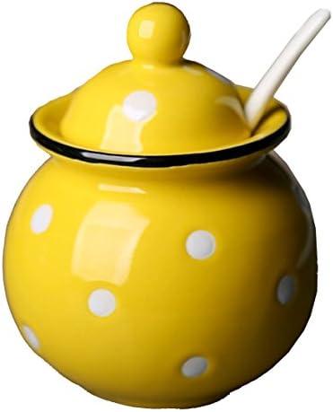 Ceramics Dot Sugar Salt Pepper Storage Jar Seasoning Pot with Lid And Spoon product image
