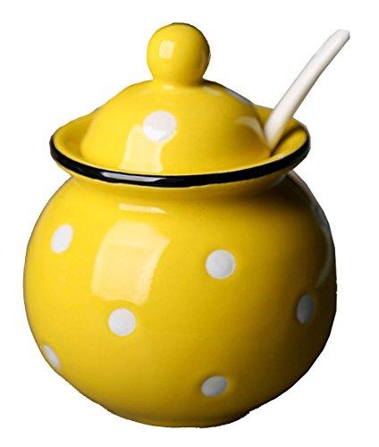 yellow ceramic jars - 3