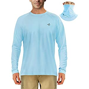Fishing Shirts for Men Sun Protection Outdoor Long Sleeve T-Shirt Hiking UPF 50+ UV Neck Masks