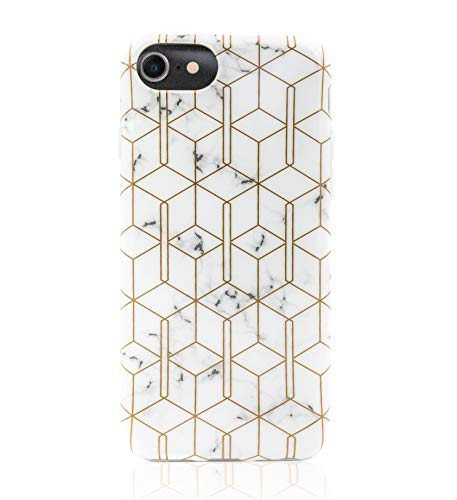 Geometric Phone Case – Marble Gold Cube Phone Case for iPhone 8/7/6 Fit - Edge to Edge Bumper TPU Case, Durable Shockproof & Lightweight Slim Phone Case w/Tempered Glass Screen Protector Included!