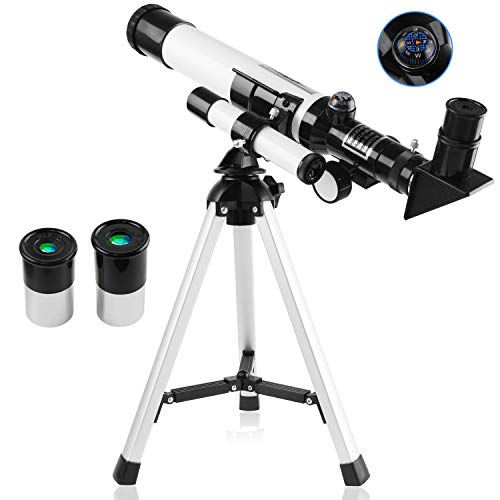 SZSMD Kids Telescope, 400x40mm Telescope Refractors, Astronomical Landscape Telescope with Tripod, 2...