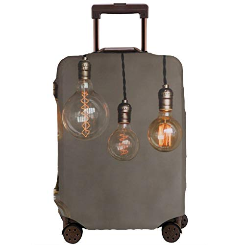 Travel Suitcase Protector,Set Edison Retro Lamp on Loft Gray Concrete Background Concept Idea,Suitcase Cover Washable Luggage Cover M