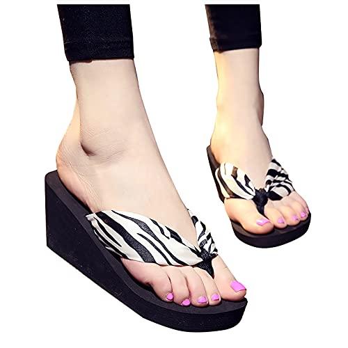 YESMAN Las mujeres de la moda flip-flops cuña playa antideslizante Bosmia...