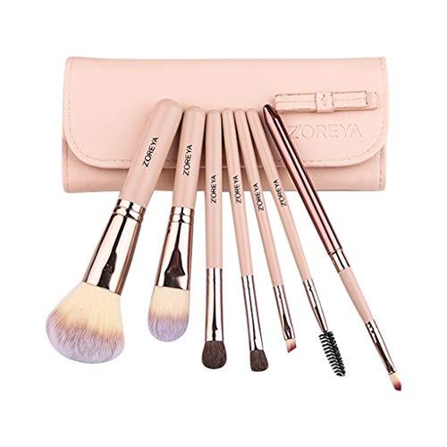 WINJIN Pinceaux Maquillage, Brosse de maquillage Cosmétique Professionnel Pinceau à maquillage kit avec étui sac de voyage Outils de maquillage Set de Brosse de 7PCS