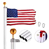 VIVOHOME 20FT Sectional Flag Pole Kit Aluminum Extra Thick Heavy Duty Outdoor with 3x5 Polyester American Flag and...