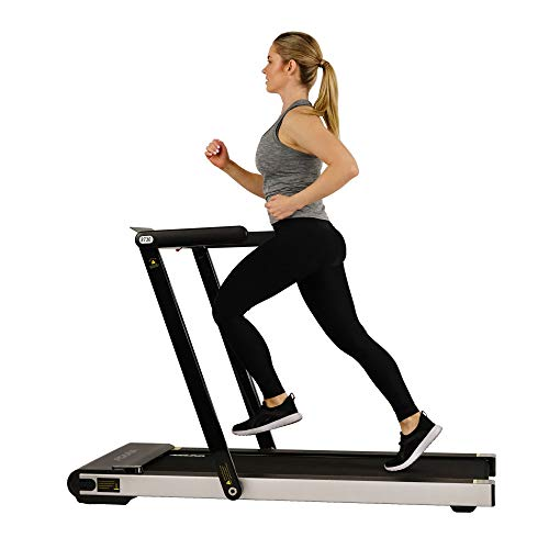 Sunny Health & Fitness Asuna Slim Folding Motorized Treadmill, Low Profile & Space Saving with Speakers for Aux Audio Connection