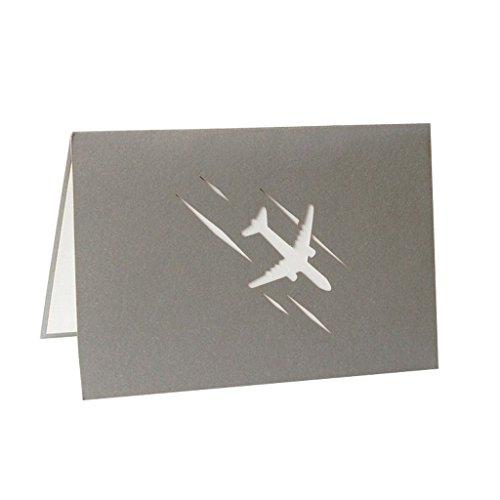 Exing Grußkarten, Karten 3D Pop up, Karten Weihnachten Hochzeit Geburtstagskarte, Papier Handarbeit,-Vorlage Flugzeug