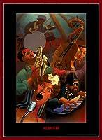 ポスター ジャスティン ブア Jazz Quintet 額装品 ウッドベーシックフレーム(レッド)