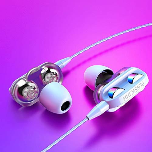 Fandazzie Auriculares con Cable de Doble Efecto y Doble Altavoz en la Oreja con micrófono Auriculares