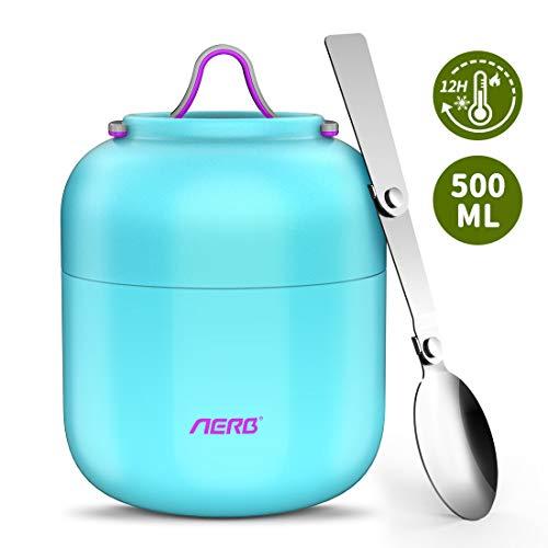 Aerb Thermobehälter für Essen 500ml BPA frei | Edelstahl Warmhaltebehälter Isolierbehälter Lunchbox für warme Speisen, Babynahrung, Suppe (Blau)