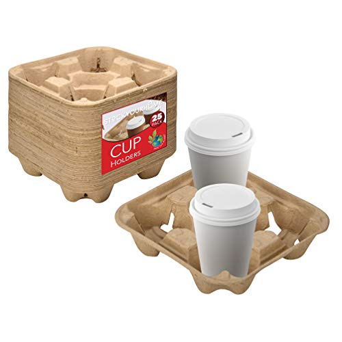 4 Cup Disposable Coffee Tray (25 Count) - Biodegradable and Compostable Cup Holder - Durable Drink...