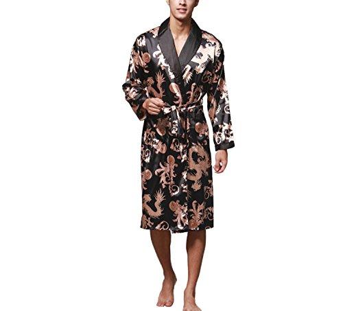 Asskyus Vestido de Kimono de Raso de los Hombres Estilo Largo Ligero de la luz (XL, Negro)