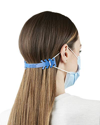 Halvar The Protector Face Mask Extender Strap - 5-Pack Adjustable Adult Size Ear Saver Straps in Blue - Made in USA Straps Reduce Ear Strain