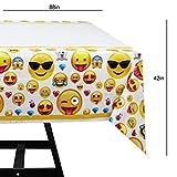 Kompanion 81-teiliges Party-Set Emoji Kindergeburtstag Partydekoration - Pappteller, Tassen, Servietten, Tischdecke und Bonus Emoji Aufkleber, Geburtstagsfeier Zubehör für 20 Kinder - 7