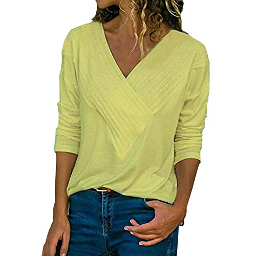 Autumn Temperament Damenbekleidung V-Ausschnitt Schlankes Langarm-Oberteil Einfarbiges Spleiß-T-Shirt