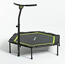 Murtisol Fitness Trampoline Exercise Rebounder Body Training Bounce Max Load 268lbs with Adjustable Handrail Adults Kids for Indoor/Garden/Workout Cardio Handle Bar Two Colors