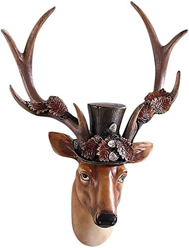 LQX Max 89% OFF Statue Artificial High quality Resin Deer Hanging Head Wall Couple D