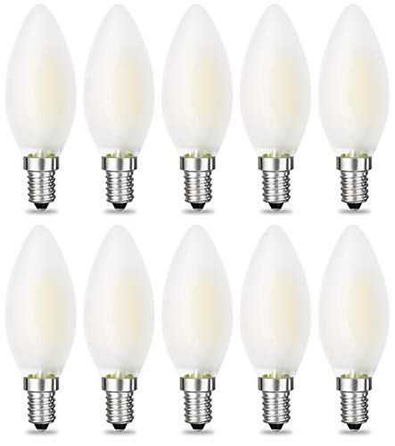 iRotYi (10-Pack) Dimmable 6W AC 120V LED Filament Light Frosted Candle Bulbs C35, Warm White 2800 Kelvin 600LM, E14 Base Lamp, 60W Incandescent Bulbs Replacement