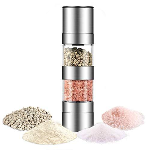 2 In 1 Dual Zout en Peper Grinder Set, RVS Zout Grinder met Verstelbare Keramische Rotor, Zout Mill en Peper Mill Shaker, Dual Mill Spice Jar (Handmatige dubbele kop)