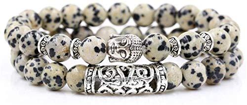 KEEBON Pulsera de Piedra Mujer, 2 unids/Set 7 Chakra 8mm Natural White Spot Beads Bangle Elástico Buddha Jewelry Pray Yoga Energy Balance Reiki Charm Regalo para Hombres