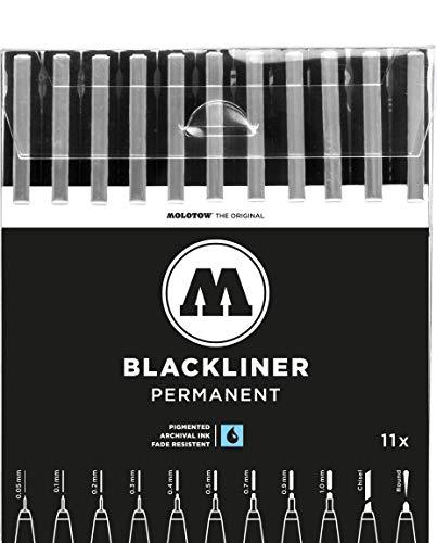 MOLOTOW Blackliner schwarz permanent, 0,05 bis 1,0 mm