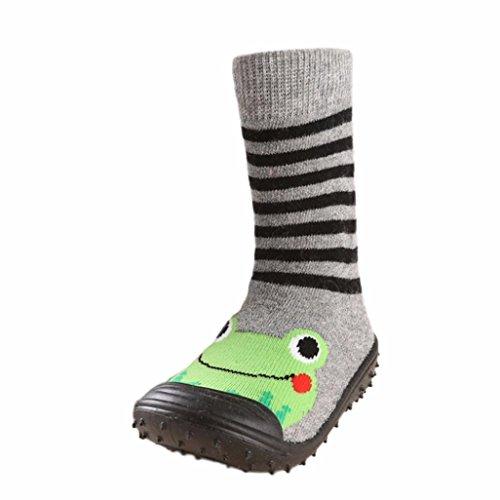 JERFER Boden Socken rutschfeste Gummisohlen Schuhe-Premium Weich Leder Babyschuhe Jungen und Mädchen Babyschuhe - Neugeborene bis 1-3.5Jahre (22, Grün)