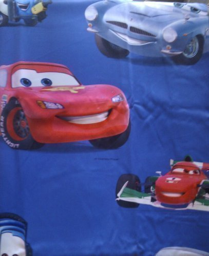 DELUXE Disney Pixar Cars 1 st. XXL kant-en-klaar sjaal/gordijn/gordijn L 250cm x B 140cm BLAUW BLACK OUT effect NIEUW
