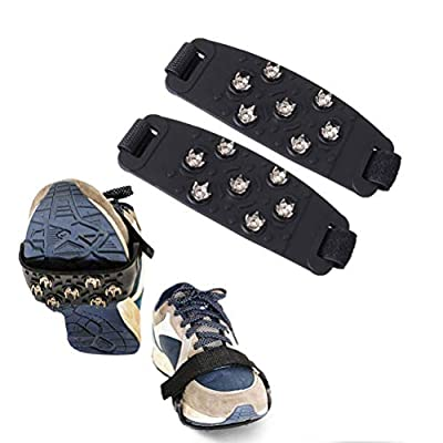 ADASEA 1 Pair Ice Grips for Shoes Anti Slip Winter Ice Grippers Snow Traction Cleats Crampon Spikers Ice Traction Slip on Boots Shoes Cover for Men Women Children
