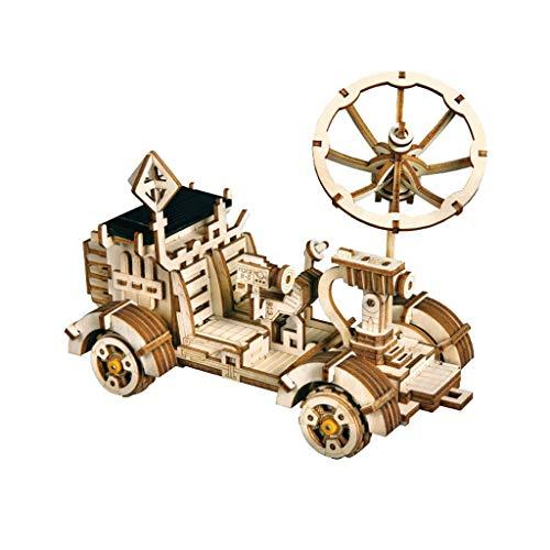 Puzzles Spielzeug DIY Solar Lunar Rover Rover Hand montiert to Make Holz Dreidimensionales Spielzeug Geburtstags-Geschenk Brainteaser (Color : Lunar Rover)