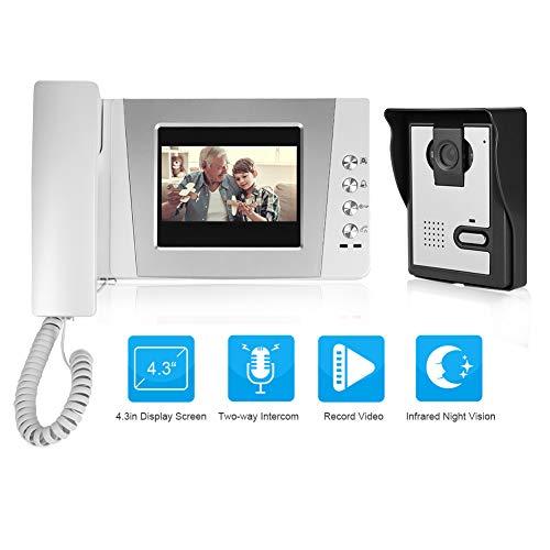 4,3 pulgadas Video Intercom - Videoportero con cable y pantalla colorida sistema de entrada de intercomunicación audio visual + Desbloqueo remoto + IR vision nocturna(EU)
