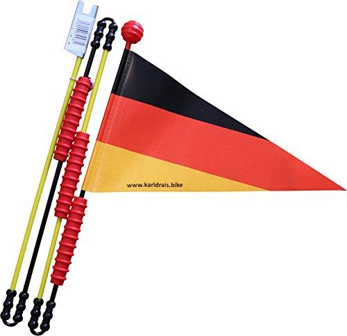 Karl Drais Fahrradfahne Deutschland Fahrradwimpel | Deutschlandflagge Langlebig und Stabil aus Heavy Duty LKW Plane | Sicherheitswimpel Fahrrad Wimpel