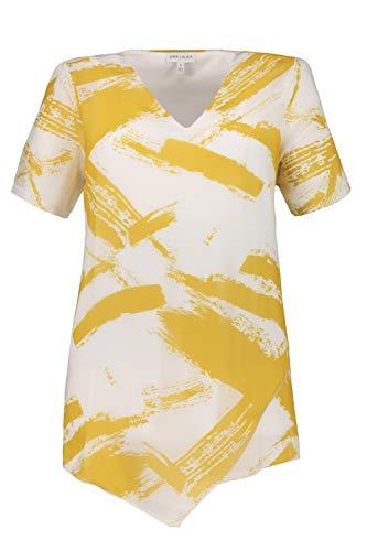 GINA LAURA Damen Bluse, Pinselstrich-Muster, Chiffon-Oberlage, Jerseytop helloliv S 726251 44-S