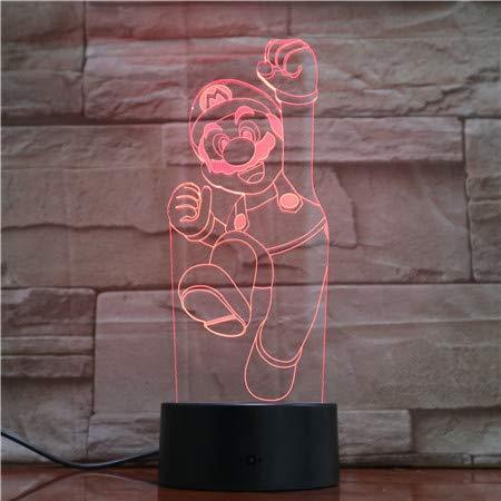 3D lamp bedlampje Super Mario nachtlampje voor de kinderkamer, led-lamp voor de woonkamer perfect geschenk voor kinderen