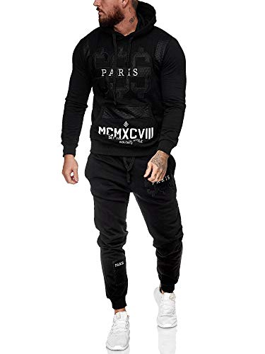 Leder Herren Jogging Anzug Jacke Sport Hose Fitness Hoodie Hose S16 S-XXL (XXL, schwarz)