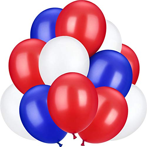 100 Pieces 10 inch Latex Balloons Colorful Round Balloons for Wedding Birthday Festival Party Decoration (Blue, Red, White)